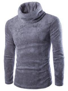 Fuzzy Turtleneck Fleece Sweater - Gray M