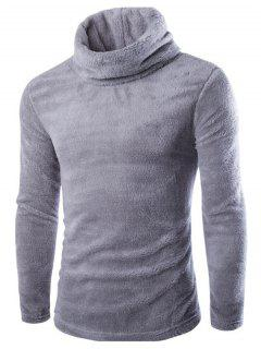 Fuzzy Turtleneck Fleece Sweater - Light Gray L