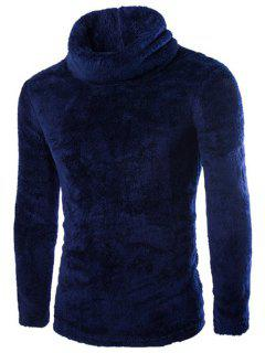 Rollkragen Langarm Fleece Pullover - Kadettenblau 2xl