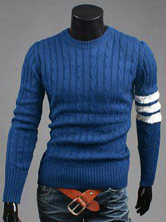 Crew Neck Long Sleeve Twist Striped Sweater - Cadetblue Xl