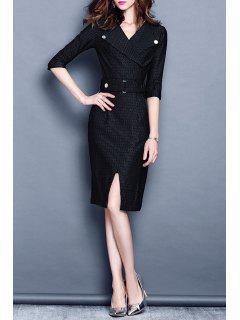 Stripe Front Slit Work Dress - Black S