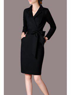 Long Sleeve Cotton Pencil Dress - Black S