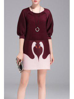 Pleated Swan Print A Line Dress - Burgundy