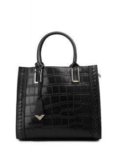 Crocodile Embossed Pendant Handbag - Black
