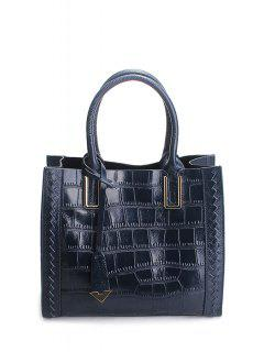 Crocodile Embossed Pendant Handbag - Deep Blue