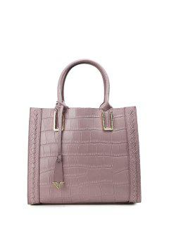 Crocodile Embossed Pendant Handbag - Purple