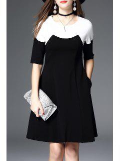 Color Block A Line Swing Dress - Black S