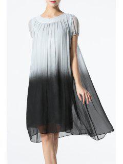 Ombre Loose Vintage Dress - Gray M