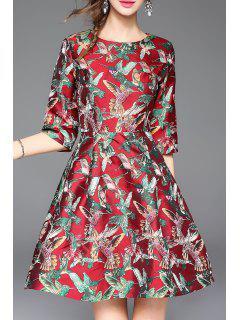 Half Sleeve Embroidered Mini Dress - Red S