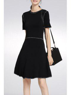 Beaded A Line Knit Dress - Black