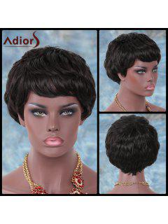 Adiors Short Fluffy Full Bang Layered Straight Synthetic Wig - Brown
