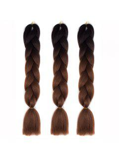 1 Pcs Multicolor Ombre High Temperature Fiber Braided Long Hair Extensions - Black And Brown