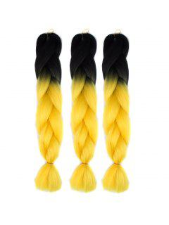 1 Pcs Multicolor Ombre High Temperature Fiber Braided Long Hair Extensions - Yellow And Black
