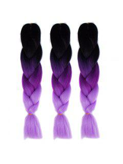 1 Pcs Multicolor Ombre Long High Temperature Fiber Braided Hair Extensions - Black And Purple