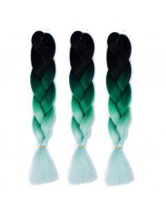 1 Pcs Multicolor Ombre Long High Temperature Fiber Braided Hair Extensions - Black And Green