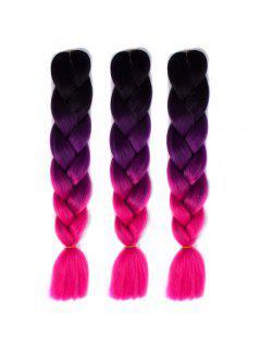 1 Pcs Multicolor Ombre Long High Temperature Fiber Braided Hair Extensions - Black And Rose Red