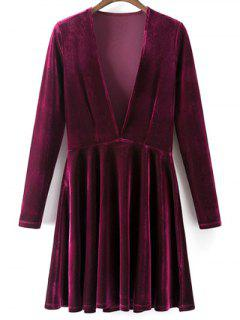 Velvet A-Line Dress - Wine Red S