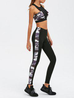 High Waist Camouflage Print Sport Suit - Black S