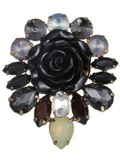 Enamel Faux Crystal Flower Brooch - Black
