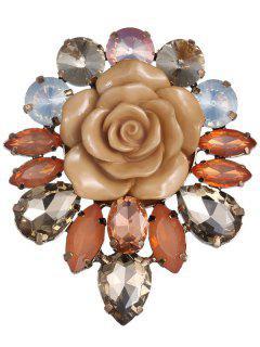 Enamel Faux Crystal Flower Brooch - Coffee