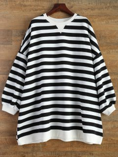 Boyfriend Stripe Sweatshirt - Black