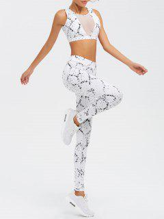 High Waist Mesh Spliced Skinny Sport Suit - White M