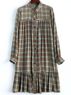 Flounce Checked Shift Dress - Coffee