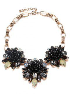 Collar Cristalino De La Flor De Imitación De Esmalte - Negro