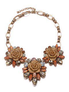 Enamel Faux Crystal Flower Necklace - Coffee