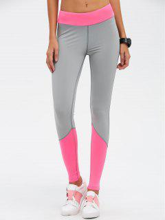 Color Block High Waist Skinny Yoga Leggings - Rose Red L