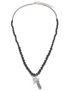 Vintage Faux Gemstone Tauren Necklace - Silver And Black