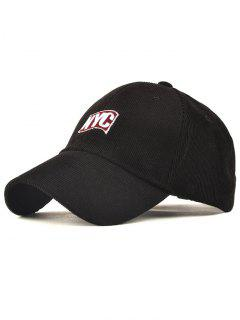 Spring Autumn NYC Embroidery Corduroy Baseball Hat - Black