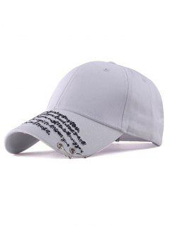 Iron Ring Letter Embroidery Sunscreen Baseball Hat - White