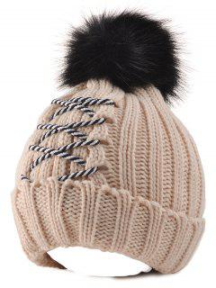 Crossing Rope Knitted Pom Ball Beanie Hat - Beige