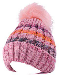 Handmade Knit Splicing Pom Ball Skullies Beanie - Pink