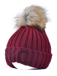 Knitted NYC Embroider Pom Ball Beanie Hat - Wine Red