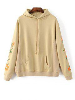 Front Pocket Floral Embroidered Hoodie - Palomino L
