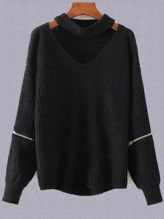 Plus Size Cut Out Chuky Choker Sweater - Black