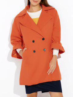 Lapel Collar Bell Sleeve Peacoat - Orange M
