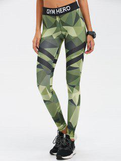 Stretchy Camo Print Gym Leggings - Camouflage Color M