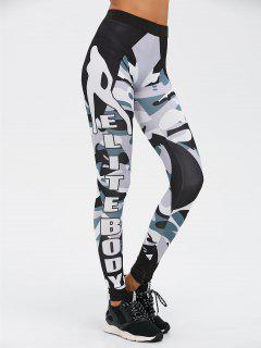 Letter Camo Print Insert Gym Leggings - Camouflage Color S