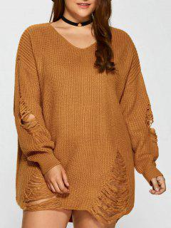 Plus Size Distressed Longline Pullover Sweater - Earthy Xl