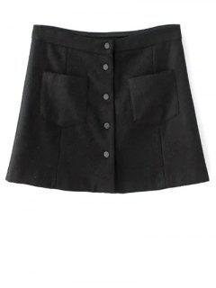 Single-Breasted Wool Blend A Line Skirt - Black S