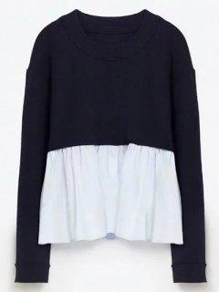 Round Neck Ruffles Panel Sweater - Purplish Blue S