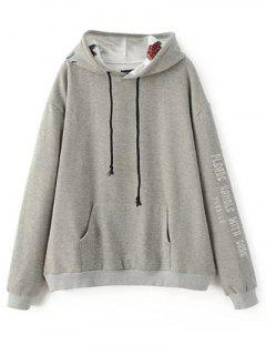 Graphic Floral Embroidered Hoodie - Gray M