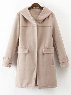 Hooded Pockets Wool Blend Coat - Apricot M