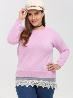 Pullover Patchwork Dentelle Grande Taille - Rose PÂle Xl