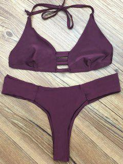 Deep Purple Halter Bikini Set - Deep Purple L