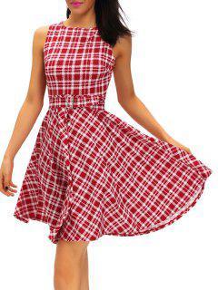 Vestido De Cuello Redondo Del Tartán De La Vendimia - Rojo S