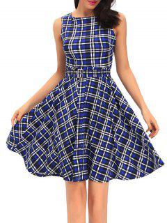Vintage Round Neck Tartan Dress - Blue S